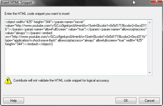 HTML Snippet Window