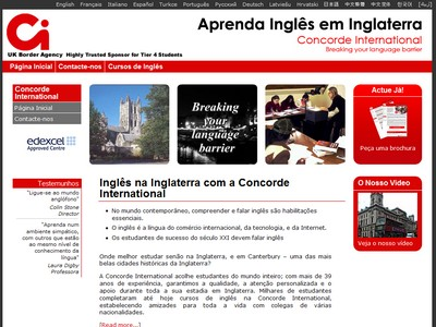 Portuguese Brazilian website for language school