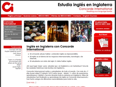 Spanish website for language school