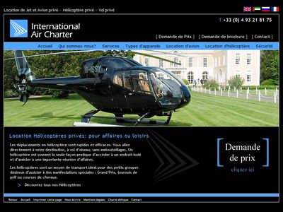 French website desigbn for aircraft charter company