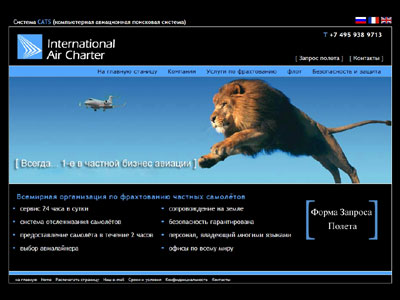 Russian website desigbn for aircraft charter company