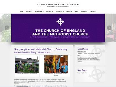website design of sturry church website