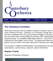website design of orchestra website