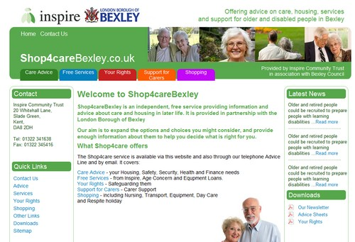 shop4care website for London Borough of Bexley