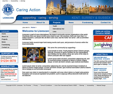 charity website designs